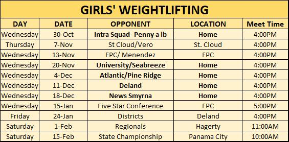 Girls wieghtlifting Schedule