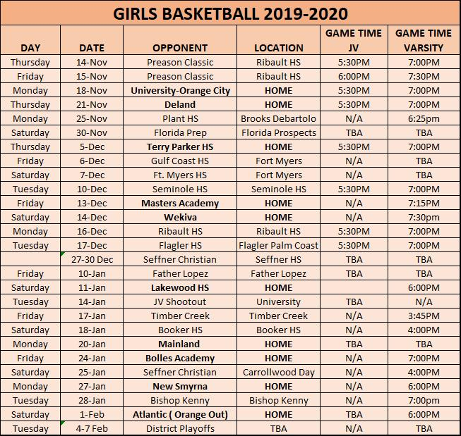 Girls' Basketball Schedule 2019-20