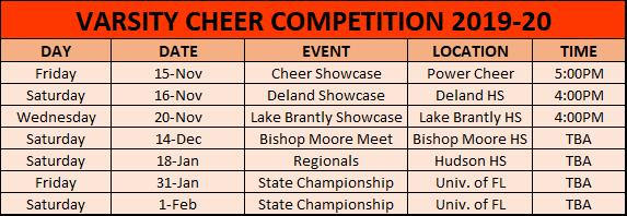 Cheer Competition Schedule