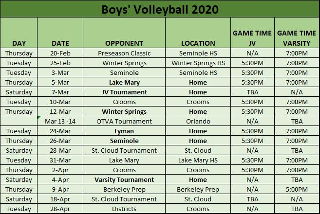 Boys' Volleyball Schedule