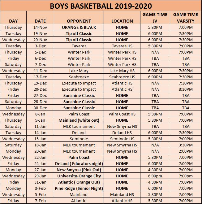 Boys Basketball Schedule 19-20